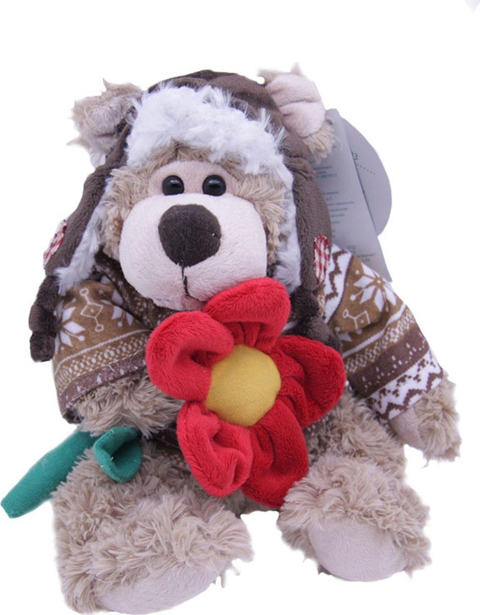 Magic Bear Toys Мягкая игрушка Мишка Рэймонд в шапке-ушанке и свитере с цветком 20 см - Мягкие игрушки