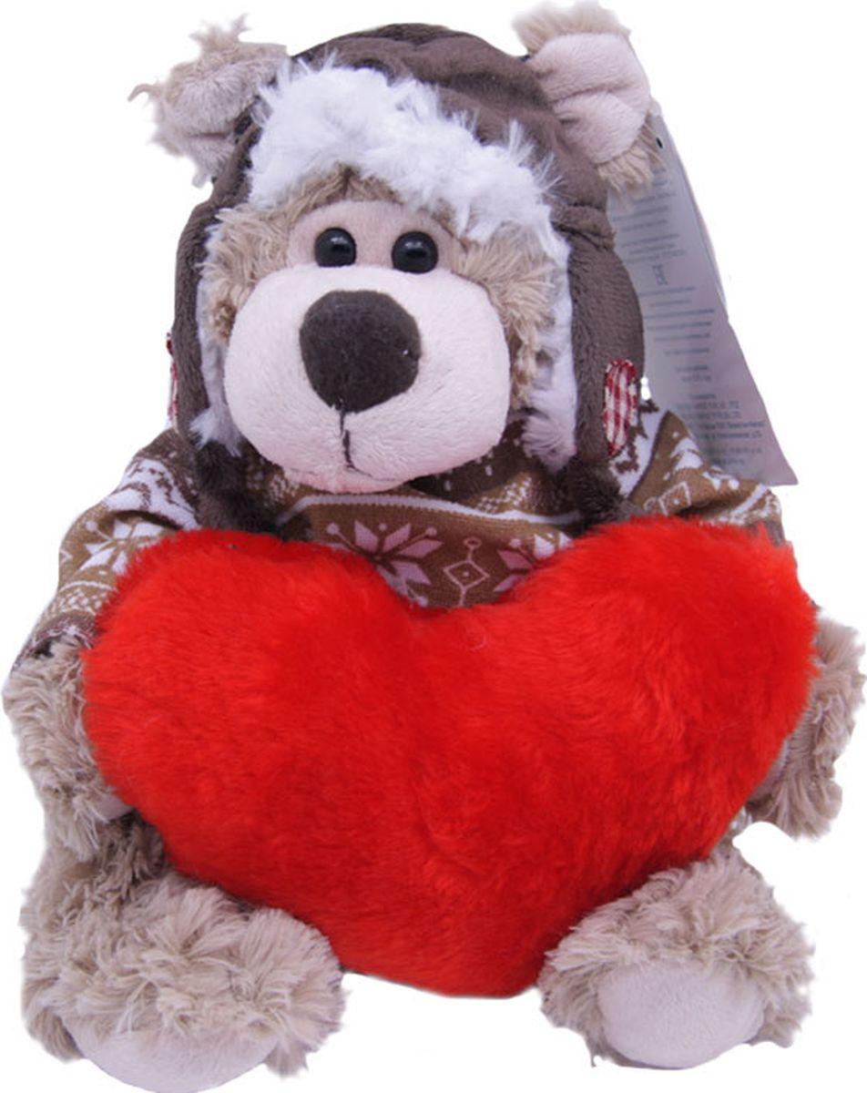 Magic Bear Toys Мягкая игрушка Мишка Рэймонд в шапке-ушанке и свитере с сердцем 20 см teddy мягкая игрушка собака в белой ушанке 20 см