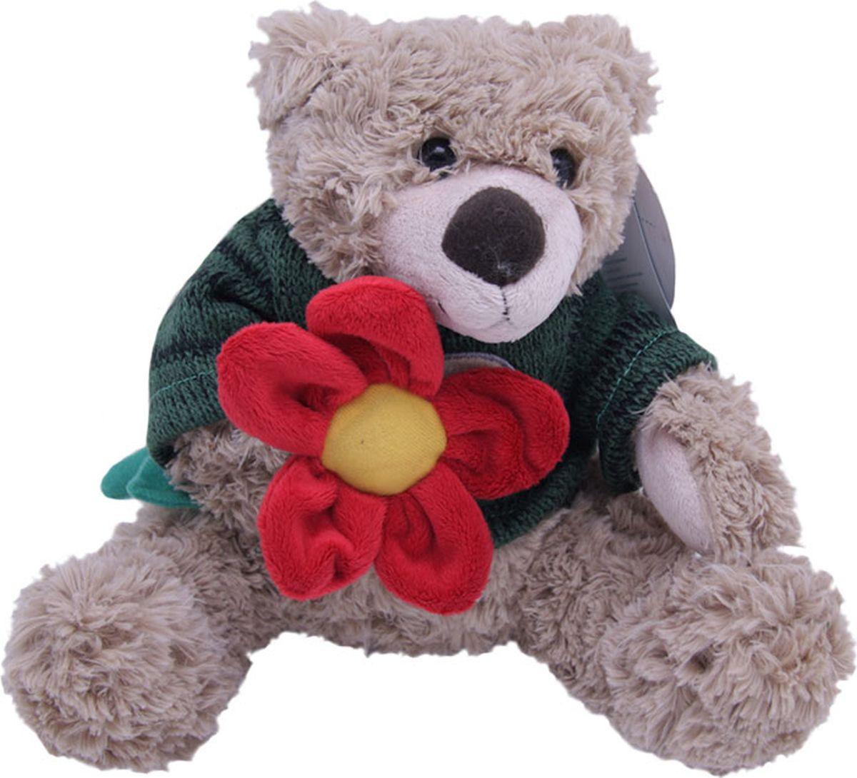 Magic Bear Toys Мягкая игрушка Мишка Тед в свитере c цветком 20 см magic bear toys мягкая игрушка медведь с заплатками в шарфе цвет коричневый 120 см