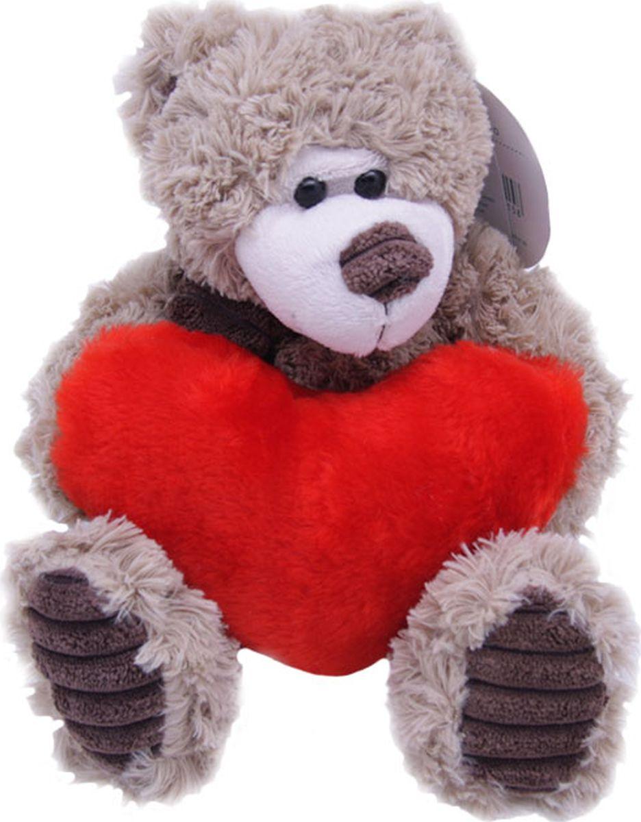Magic Bear Toys Мягкая игрушка Мишка Норман в шарфе с сердцем 18 см magic bear toys мягкая игрушка медведь с заплатками в шарфе цвет коричневый 120 см