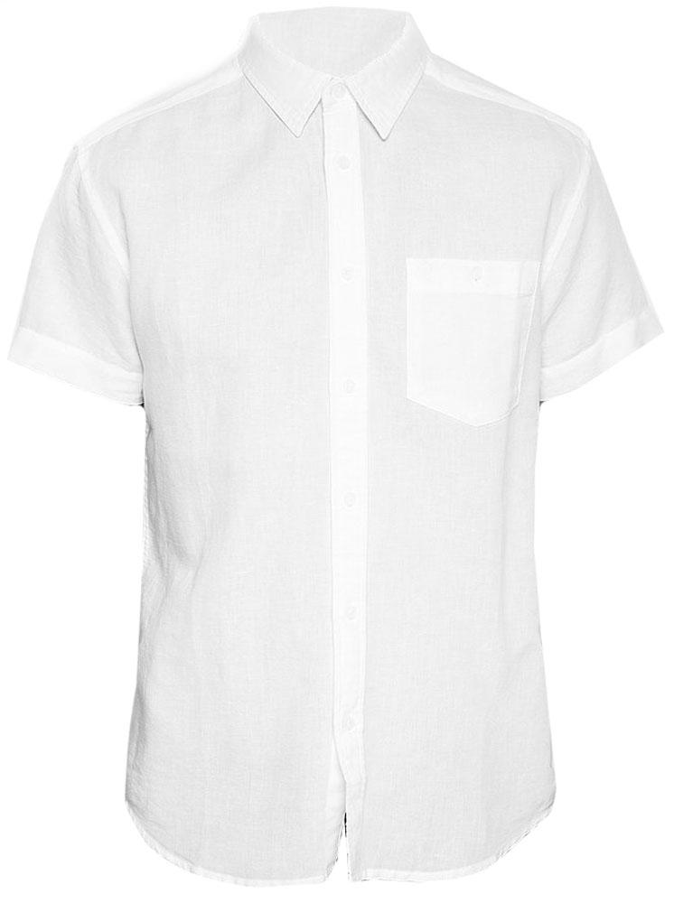 Рубашка мужская Wrangler, цвет: белый. W5860LO12. Размер L (50)W5860LO12Рубашка от Wrangler выполнена из льняной ткани с добавлением хлопка. Модель с короткими рукавами и отложным воротником застегивается на пуговицы. На груди дополнена накладным кармашком.