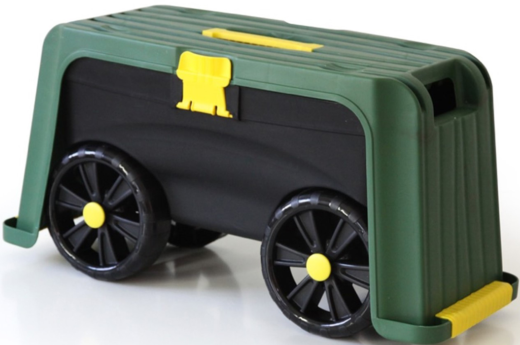 Ящик-подставка на колесах 4 в 1Размер: 58,5 х 24,3 х 29,5 смВес: 2 кгЦвет: зеленый / черныйМаксимальная нагрузка: до 100 кгМатериал: пластикМягкая прокладка из пенопласта