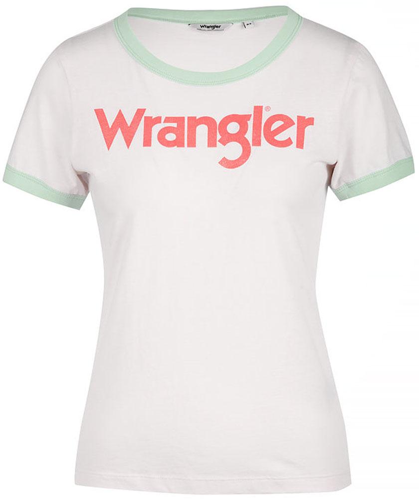 Футболка женская Wrangler, цвет: белый, мятный. W716SEVLF. Размер M (44)W716SEVLFФутболка от Wrangler выполнена из натурального хлопкового материала. Модель с короткими рукавами и круглым вырезом горловины на груди оформлена надписью.
