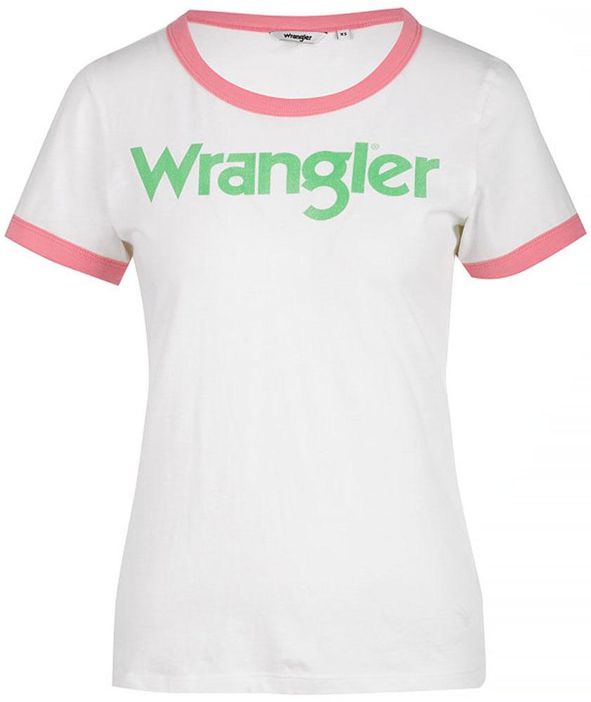 Футболка женская Wrangler, цвет: белый, розовый. W716SEVUF. Размер L (46)W716SEVUFФутболка от Wrangler выполнена из натурального хлопкового материала. Модель с короткими рукавами и круглым вырезом горловины на груди оформлена надписью.