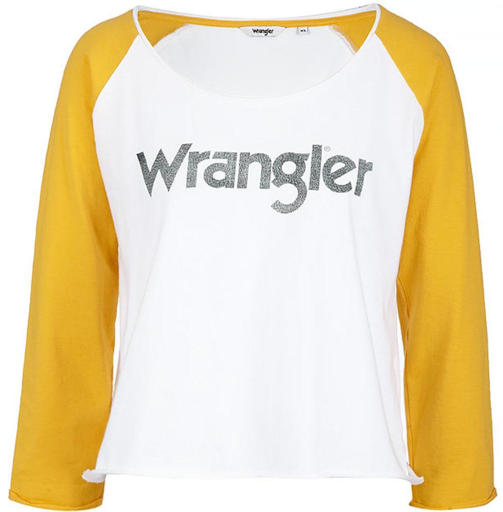 Лонгслив женский Wrangler, цвет: белый. W718CF912. Размер S (42)W718CF912Лонгслив от Wrangler выполнен из натурального хлопкового трикотажа. Модель с рукавами-реглан длиной 3/4и круглым вырезом горловины на груди оформлена надписью.