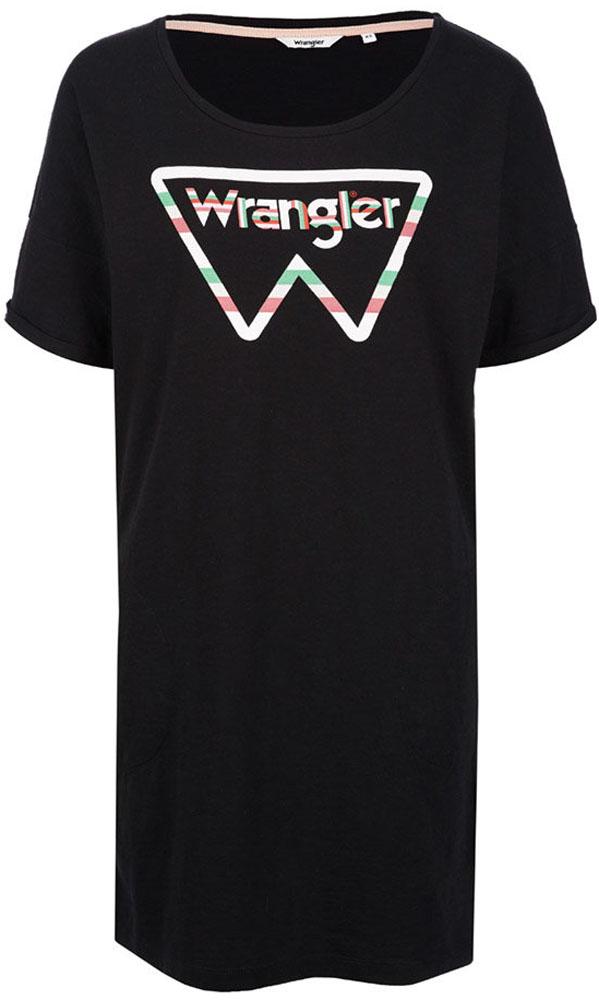 Платье Wrangler, цвет: черный. W903LEM01. Размер M (44)W903LEM01Платье от Wrangler выполнено из натурального хлопкового трикотажа. Модель свободного кроя с короткими рукавами и круглым вырезом горловины на груди оформлена принтом.
