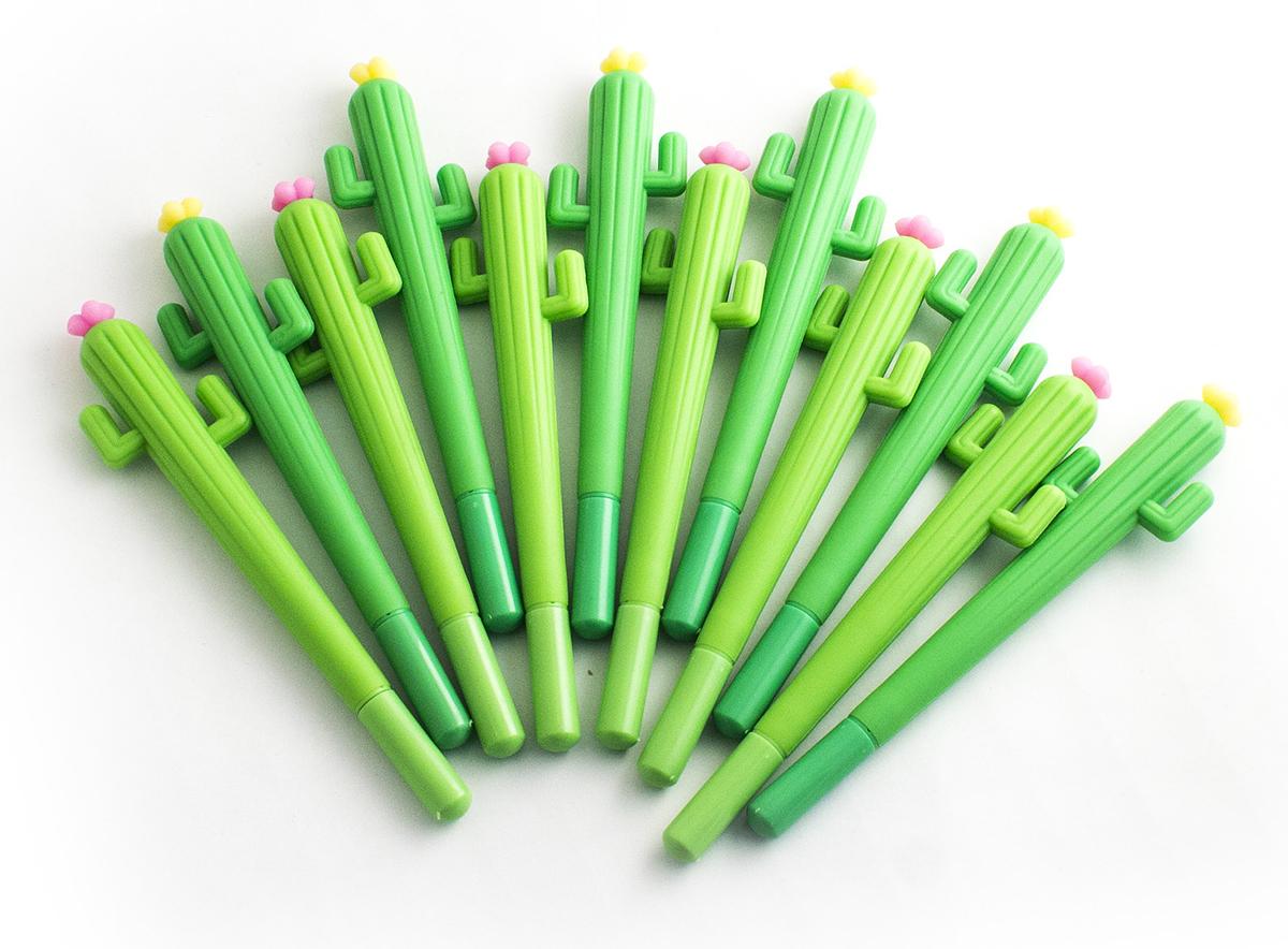 Эврика Набор шариковых ручек Кактус цвет корпуса зеленый цвет чернил синий 12 шт -  Ручки