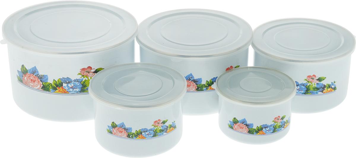 Набор мисок Bohmann Пионы, с крышками, 10 предметов. 8515BH набор мисок bohmann голубые цветы с крышками 6 предметов