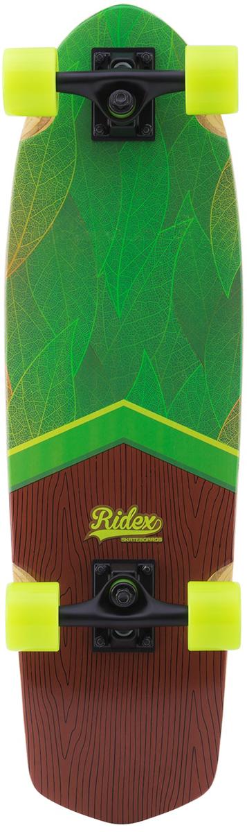 """Круизер Ridex Eco, цвет: зеленый, желтый, 74 х 20,5 см, ABEC-5УТ-00011606Найди свой дзен в нашей классической модели с удлиненной задней частью доски (тейлом). Цветная песчаная шкурка. На обратной стороне - сочетание свежего зеленого принта с яркими желтыми колесами, которое универсально и подойдет как парням, так и девушкам. Доска из классической серии коллекции Ridex. Повторяет форму доски круизбордов 1960-х годов. Подвеска расположена близко к передней части доски, обеспечивая повышенную маневренность. Плоская форма доски без конкейвов. Умеренно мягкие колеса обеспечат хороший накат на городских дорогах. Прочная алюминиевая подвеска для максимальной безопасности уличного катания. Характеристики: Размер деки: 28.5x 8.25"""". Материал деки: китайский клен, 8 слоев. Шкурка: песчаная, PROgrip. Подвеска: 5"""" seagull Alum. Колеса: 60мм x 45мм. Материал колес: Полиуретан. Жесткость колес: 78A. Бушинги: PU 85A. Подшипники: ABEC-5 chrome с цветными шильдингами и печатью. Подкладка подвески: 8 мм. Упаковка: прозрачный пакет с логотипом."""