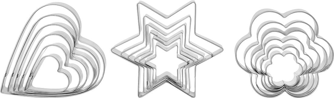 Набор форм для вырезания печенья и вафель Elan Gallery, 18 предметов590170Набор форм-вырубок для печенья и вафель состоит из 18 предметов — три формы - сердце, цветок и звезда в шести разных размерах. Формы выполнены из антикоррозийной стали и упакованы в картонную коробку с прозрачной крышкой. Формами удобно пользоваться, и их легко мыть. Прекрасный подарок любой хозяйке. Ведь с такими формами руки сами тянутсяк тесту. Не рекомендуется применять абразивные моющие средства. Не использовать в микроволновой печи. Не мыть в посудомоечной машине. Средний размер самых маленьких форм: 3 х 3 х 2 см.Средний размер самых больших форм: 8 х 8 х 2 см.