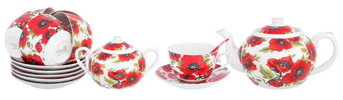 Набор чайный Elan Gallery Маки, 14 предметов. 730505730505Великолепный чайный набор Elan Gallery Маки на 6 персон станет шикарным подарком. Изделия выполнены из фарфора. В комплекте 6 чашек объемом 250 мл, 6 блюдец, сахарница объемом 450 мл, чайник объемом 1100 мл.Изделие имеет подарочную упаковку, поэтому станет желанным подарком для Ваших близких!
