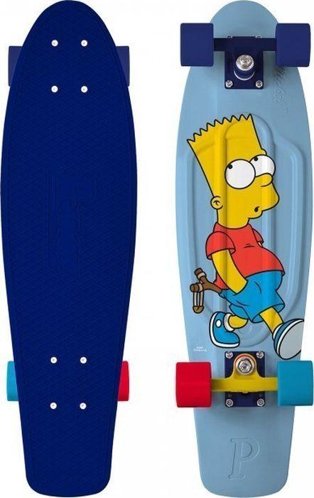 Пенни борд Penny Simpsons, цвет: синий, дека 27PNYCOMP27358Ограниченный тираж лонгбордов Penny Simpsons 27 с любимыми персонажами. Превосходное сцепление, высокое качество материалов. Составьте компанию героям Спрингфилда получив максимум фана!