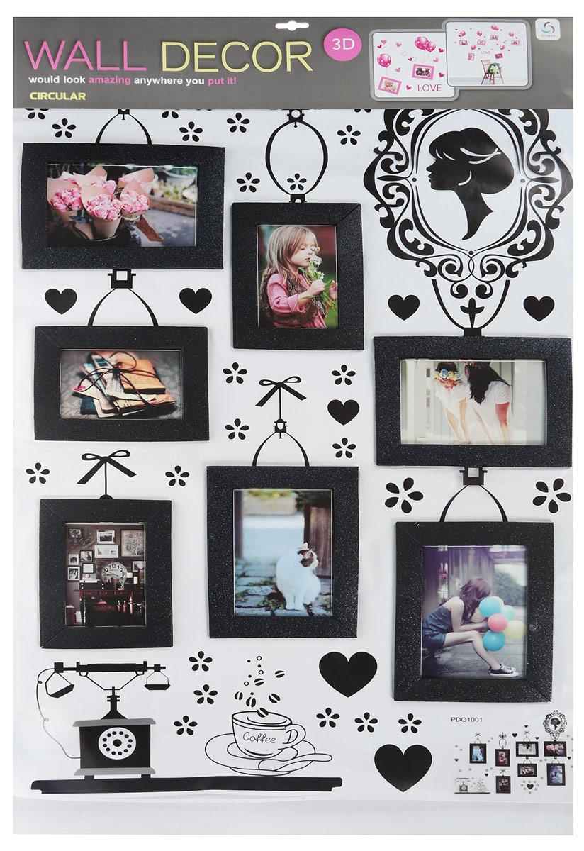 Wall Decor Наклейка-фоторамка на 8 фото Флора цвет рамки черный [супермаркет] джингдонг йонаго домашнего интерьера аксессуаров для дома фото рамки фото рамки качелей наборов тройного стенда