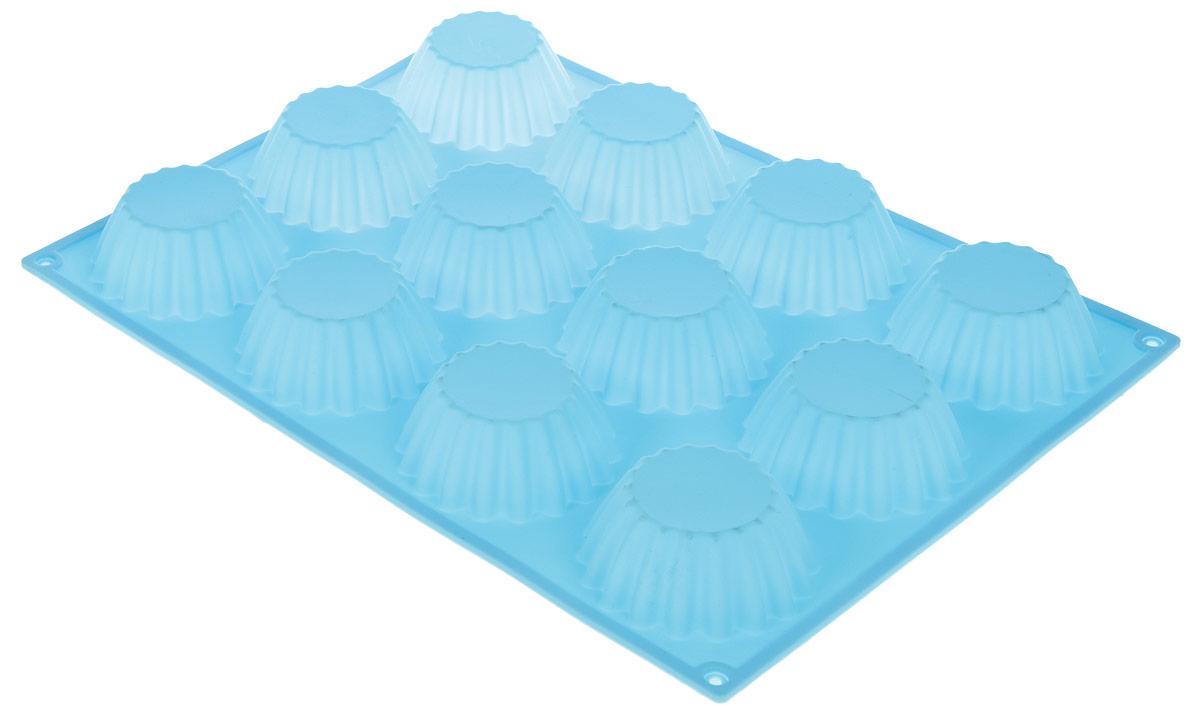 Форма для выпечки Доляна Кексы большие, 26 х 35 х 4 см, 12 ячеек, цвет: голубой