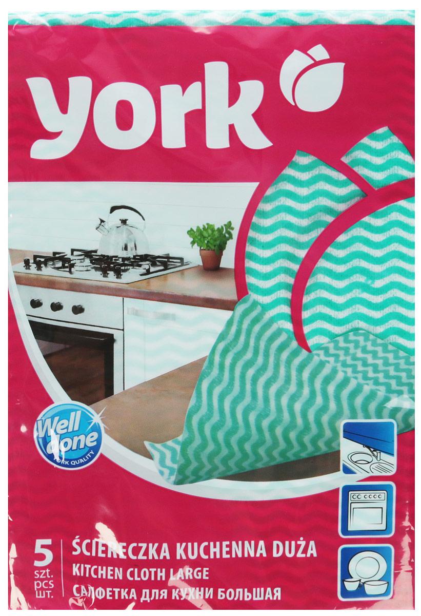 Салфетка для кухни York Макарена, цвет: зеленый, 35 см х 50 см, 5 шт depilica нетканые полоски для эпиляции для лица 3x12 5 см non woven facial strips 100 шт