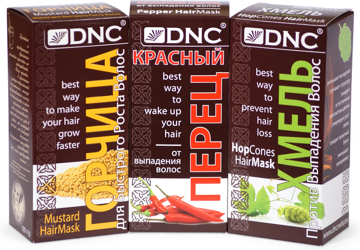 DNC Набор Перец, Горчица и Хмель для Волос (3 шт по 100 г) dnc маска для жирных волос 3 15 мл