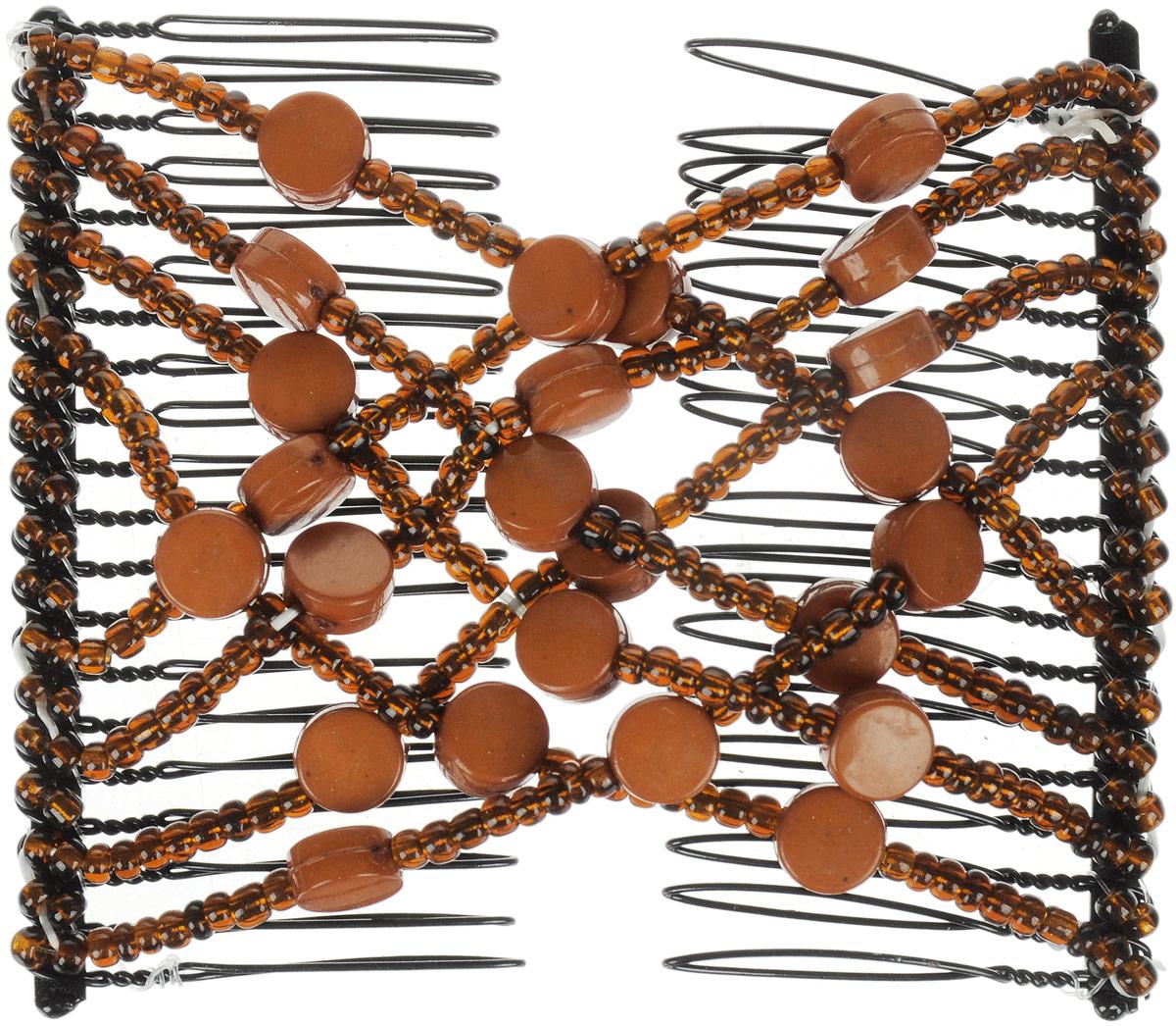 EZ-Combs Заколка Изи-Комбс, одинарная, цвет: коричневый