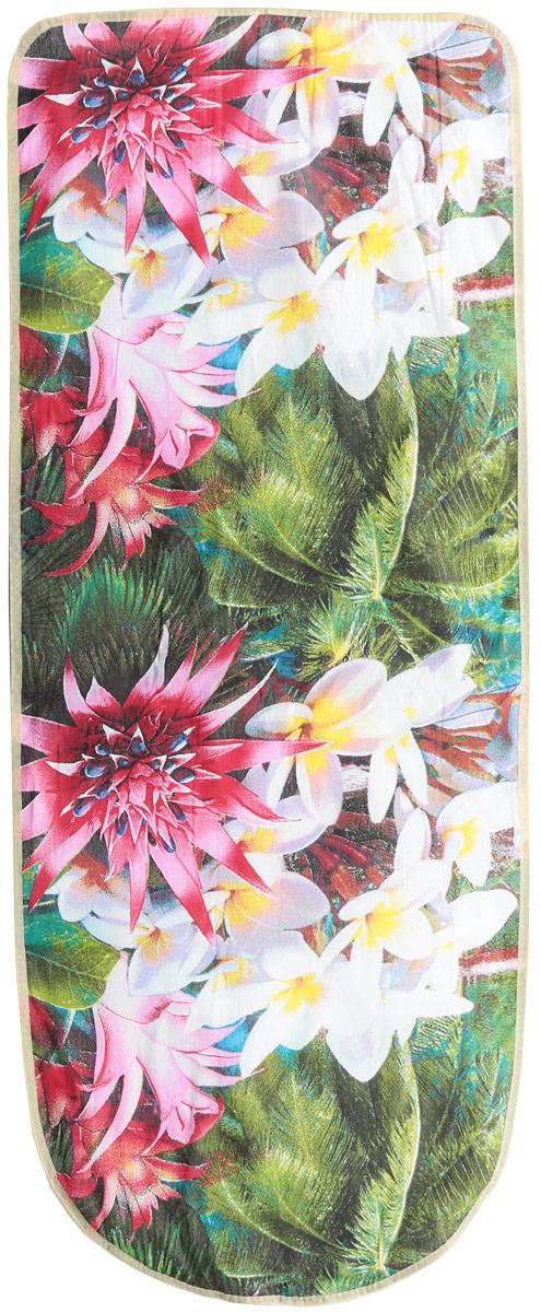 Чехол для гладильной доски Eva Грация. Пальма и цветы, 125 х 47 смЕ13_пальмы,цветыЧехол для гладильной доски Eva Грация. Пальма и цветы, 125 х 47 см