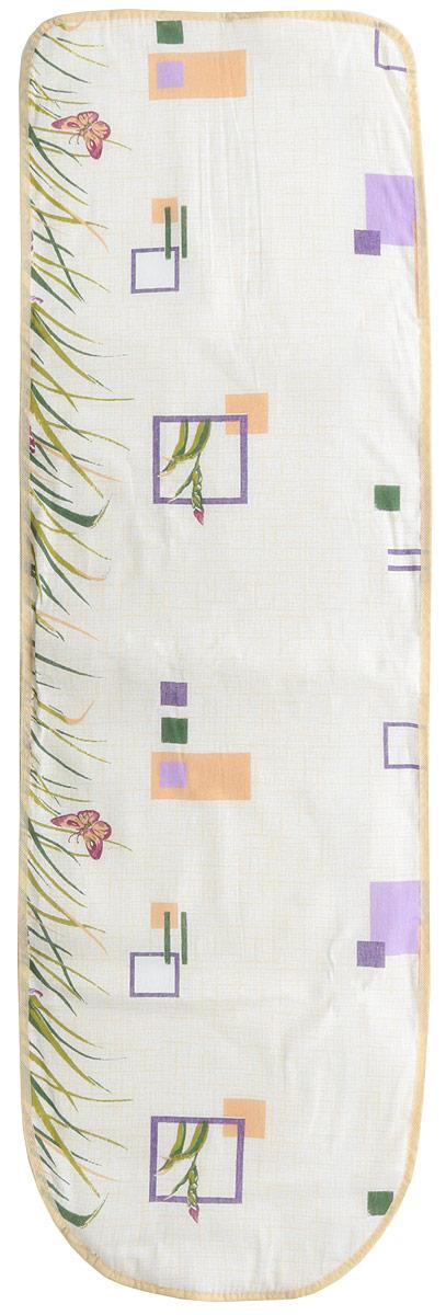 Чехол для гладильной доски Eva, с поролоном, цвет: бежевый, голубой, 120 х 38 см чехол для гладильной доски nika звезды антипригарный с поролоном цвет серый желтый голубой 129 х 48 см