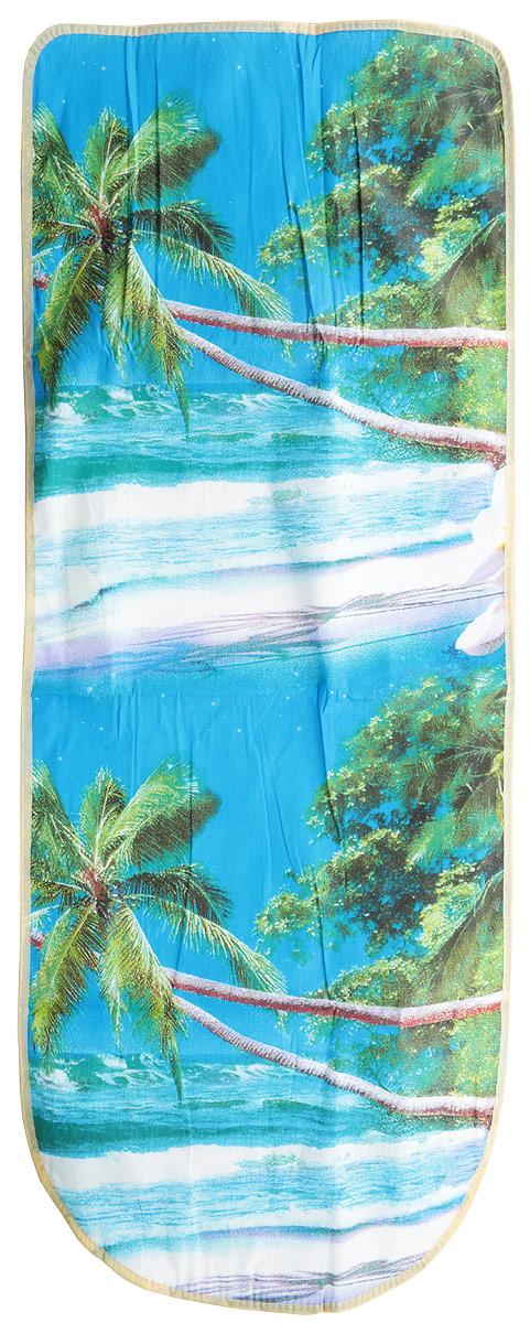 Чехол для гладильной доски Eva Пальма, цвет: белый, голубой, зеленый, 125 х 47 смЕ13_белый, голубой, зеленый, сиреневыйЧехол для гладильной доски Eva Пальма, цвет: белый, голубой, зеленый, 125 х 47 см