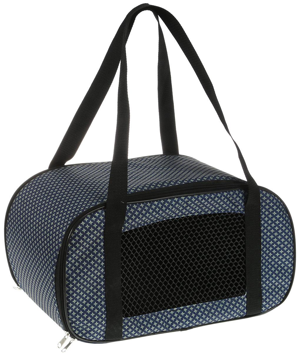 Сумка-переноска для животных Теремок Звезды, цвет: темно-синий, зеленый, 44 х 19 х 20 см сумка переноска для животных теремок цвет голубой синий белый 44 х 19 х 20 см
