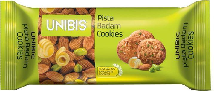 Unibis Pista Badam Cookies Печенье с миндалем и фисташками, 75 г сладкая сказка печенье дед мороз и снегурочка 400 г