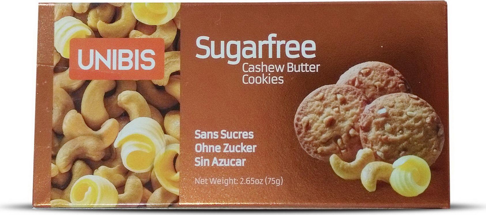 Unibis Sugar free Cashew cookies Печенье с кешью без сахара, 75 г сладкая сказка печенье дед мороз и снегурочка 400 г
