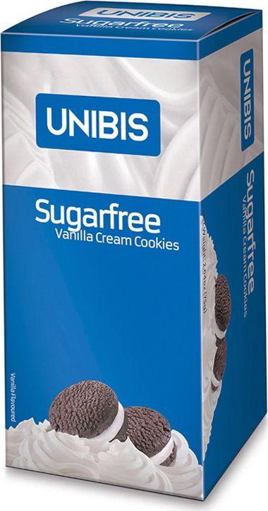 цены Unibis Sugar free Vanilla cookies Печенье с ванильным кремом без сахара, 75 г