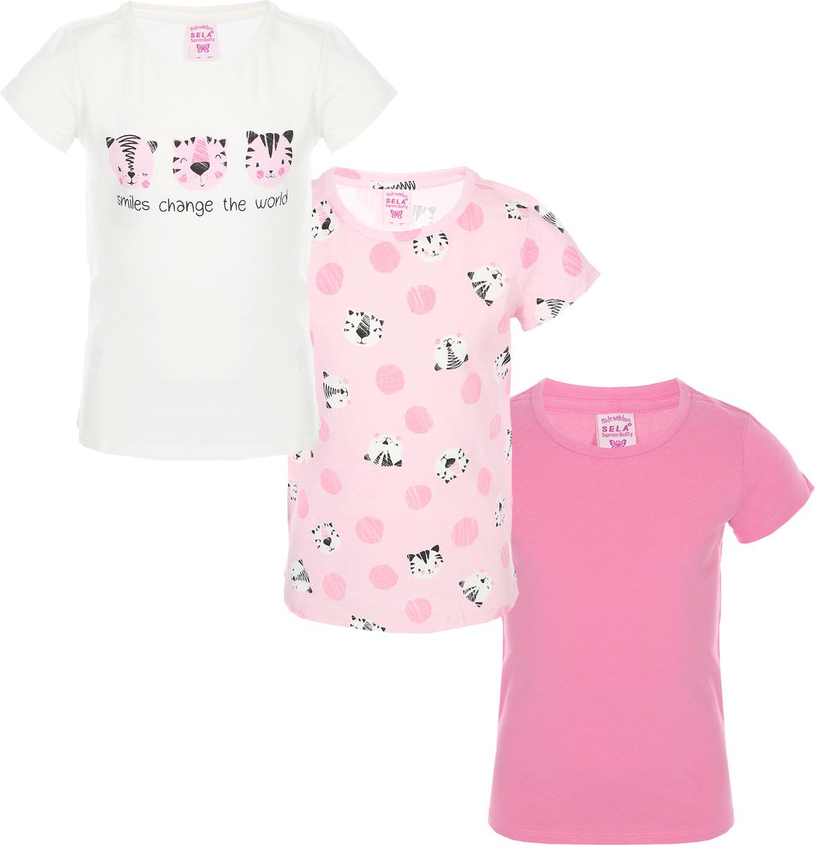 Футболка для девочки Sela, цвет: молочный белый, 3 шт. Ts-511/481-8213-3set. Размер 104, 4 годаTs-511/481-8213-3set