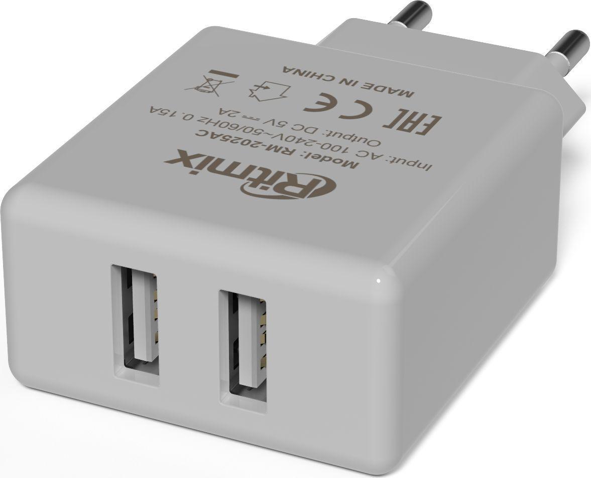 цена Ritmix RM-2025AC, White сетевое зарядное устройство