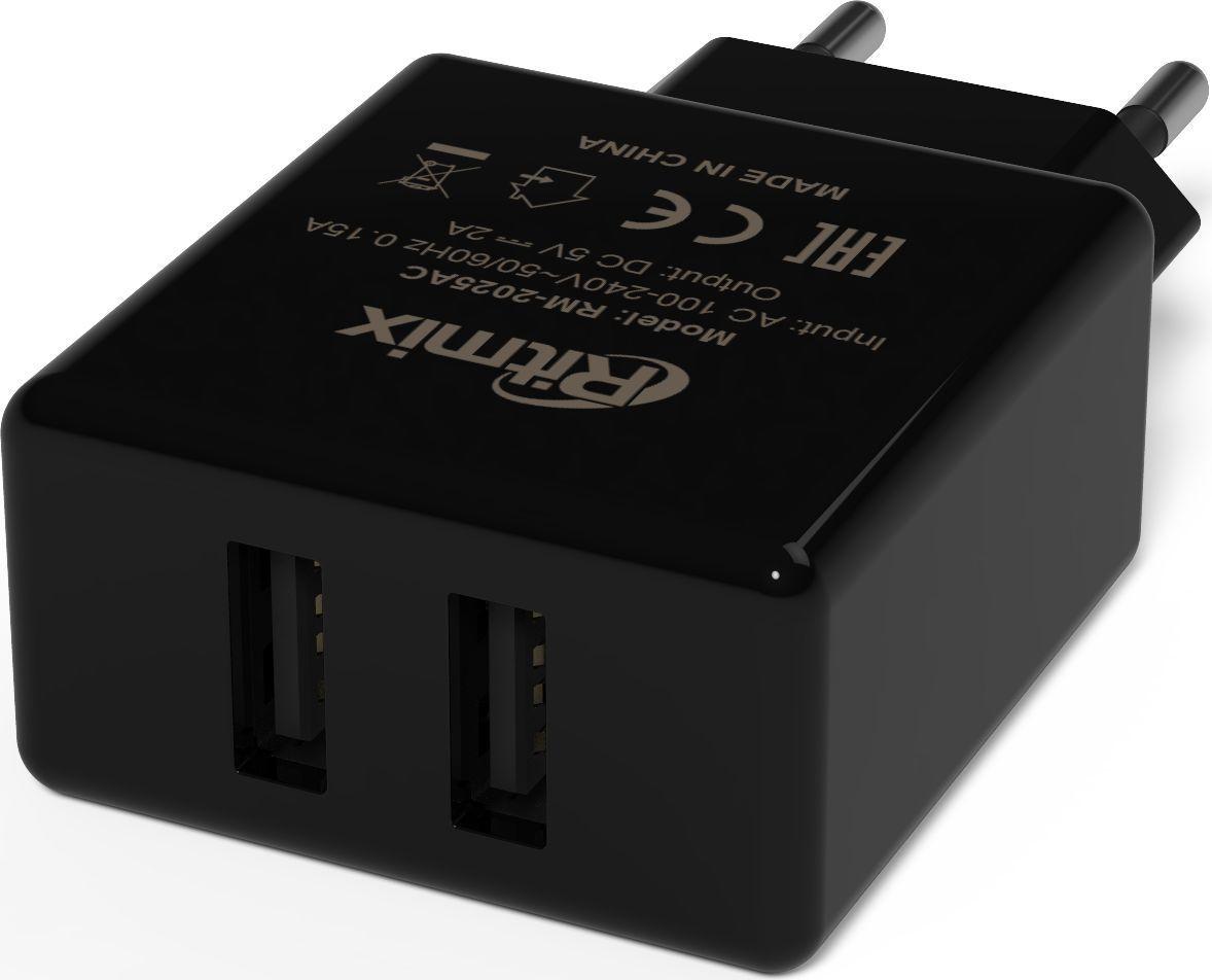 Ritmix RM-2025AC, Black сетевое зарядное устройство15119034Ritmix RM-2025AC — это зарядное устройство, работающее от электрической сети 220 В и позволяющее заряжать встроенные аккумуляторы устройств самых разных видов (телефонов, планшетов, диктофонов, фото- и видеокамер, плееров, игровых приставок и др.). Данное ЗУ имеет два разъёма USB и рекомендовано для любой электроники.