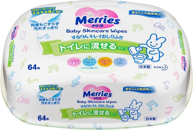 Merries Влажные салфетки детские Flushable 64 шт