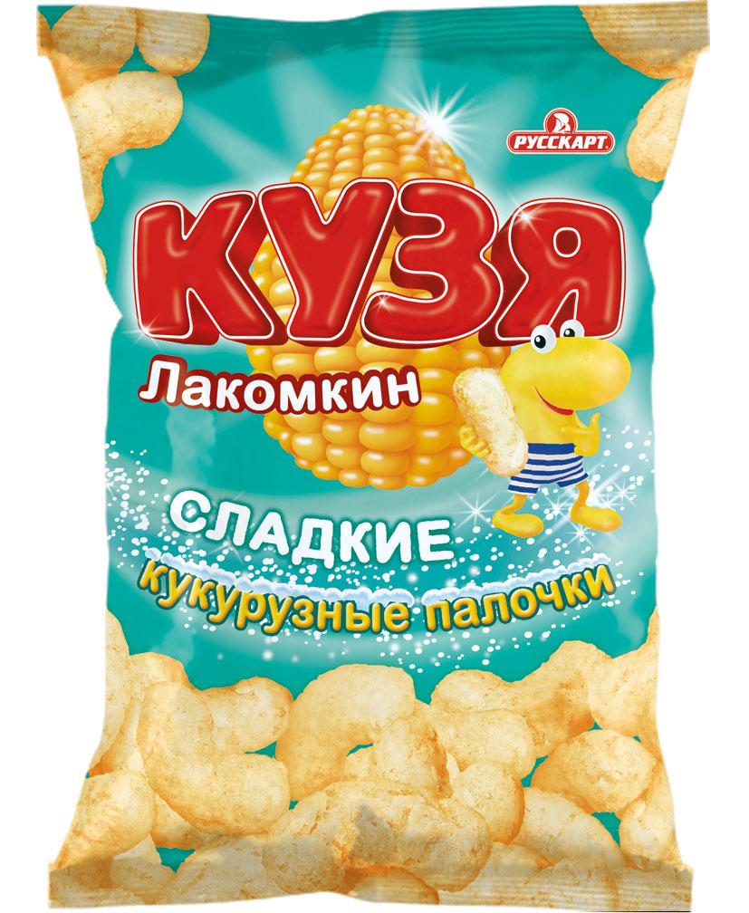 """Кукурузные палочки """"Кузя Лакомкин"""" - натуральный продукт, изготовленный из высококачественной кукурузной крупы. Каждая палочка покрыта слоем сахарной пудры и просто тает во рту. """"Кузя Лакомкин"""" - отличный десерт для детей и взрослых."""