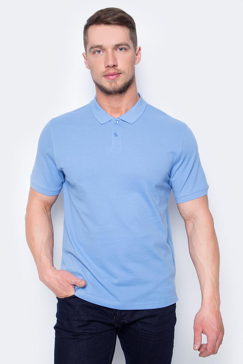 Поло мужское Sela, цвет: насыщенно-голубой. Tsp-211/1217-8152. Размер XL (52)Tsp-211/1217-8152