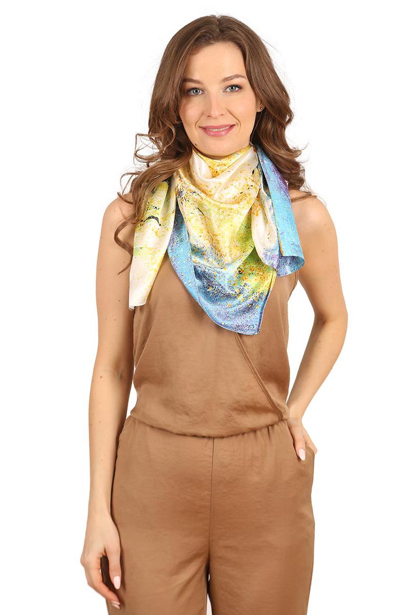 Платок женский Venera, цвет: желтый, белый, голубой. 3901301-11. Размер 90 см х 90 см