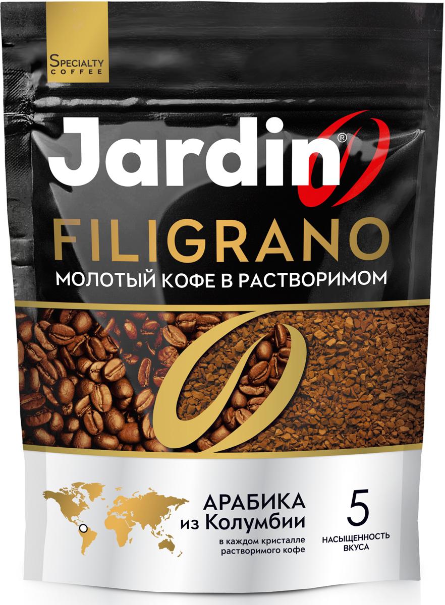 Jardin Filigrano кофе молотый в растворимом, 75 г1152-24Бархатистый и насыщенный вкус с шоколадно-сливочными нотами.Арабика из Колумбии ультратонкого помола в каждом кристалле растворимого кофе.