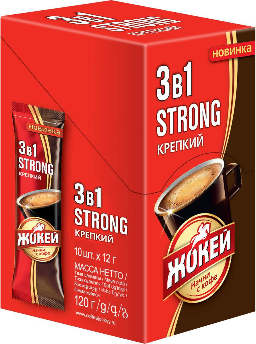 Жокей 3 в 1 растворимый кофе крепкий с сахаром и сливками, 10 шт цена и фото