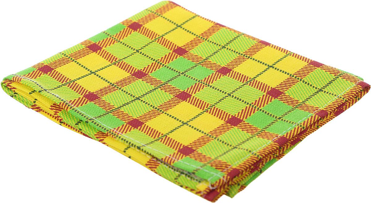 """Полотенце кухонное Bonita """"Клетка"""", вафельное, цвет: зеленый, желтый, 35 х 61 см"""