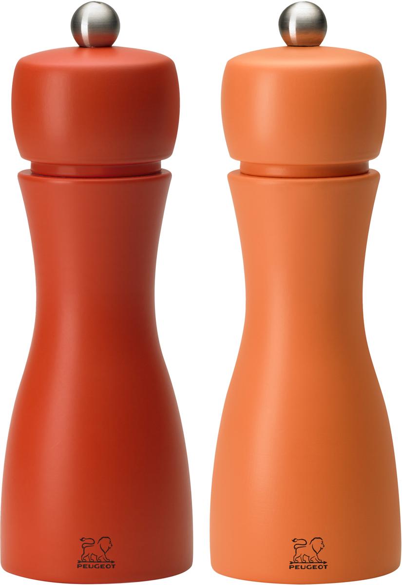 Набор мельниц для специй Peugeot Tahiti set, цвет: коралловый, оранжевый, высота 15 см, 2 предмета2/33286Набор мельниц для специй Peugeot Tahiti set -элегантная линия, изогнутый корпус из матового дерева и небольшая шлифованная кнопка из матовой стали. Это изысканная декоративная модель является неотъемлемой частью современной моды. Механизм позволяющий регулировать помол в 6 разных степенях. Механизм оснащен спиралевидным двойным рядом зубьев, которые направляют и удерживают перчинки для идеального измельчения. Он имеет запатентованную обработку, которая защищает сталь от коррозии.