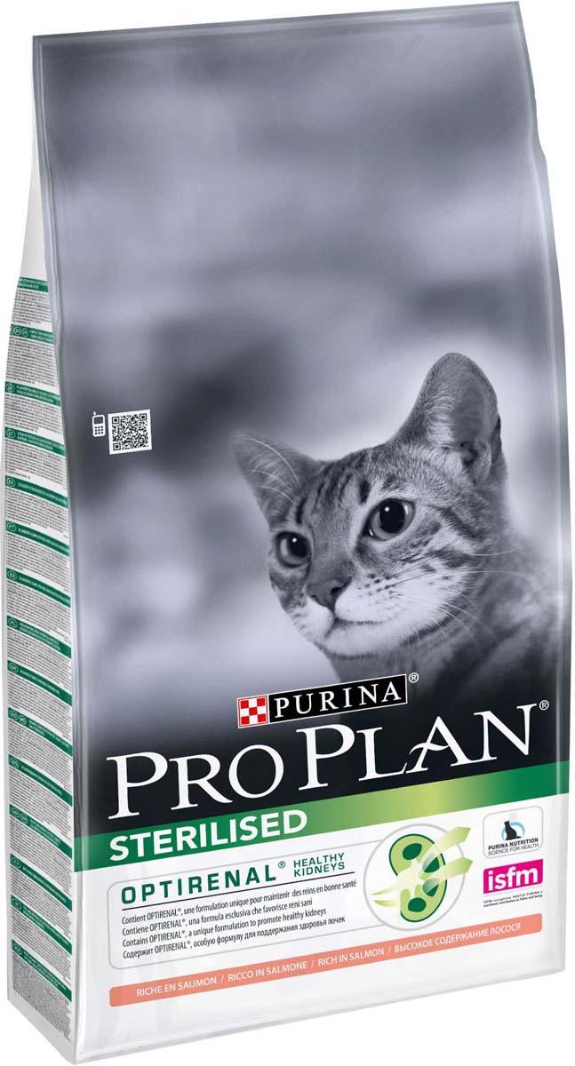 Корм сухой Pro Plan Sterilised для кастрированных котов и стерилизованных кошек, с лососем, 10 кг корм сухой для кошек и котов pcg ме о курица с овощами 3 кг