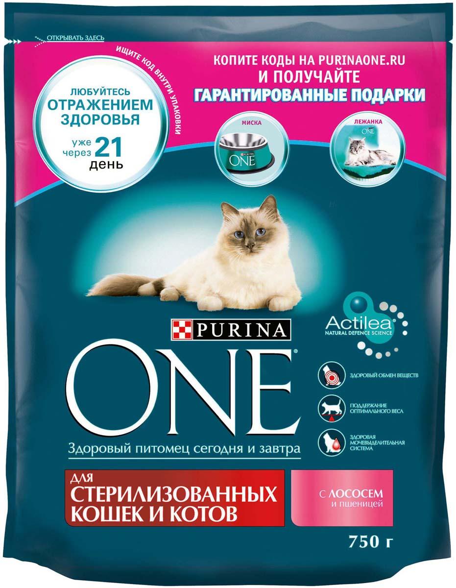 Корм сухой Purina One, для стерилизованных кошек и котов, с лососем и пшеницей, 750 г корм для чувствительных кошек purina one