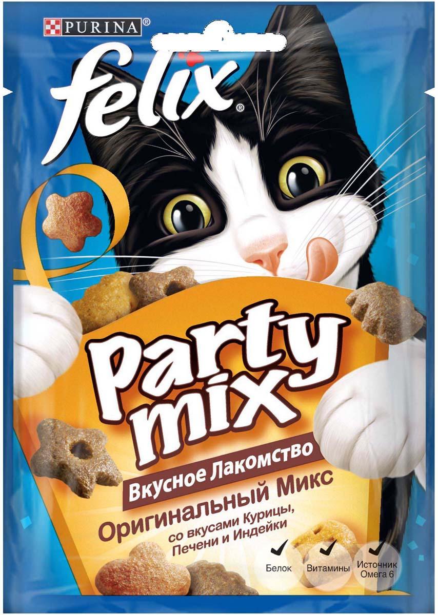 Лакомство для кошек Felix Party Mix. Оригинальный микс, со вкусами курицы, печени и индейки, 20 г лакомство для кошек felix party mix гриль микс cо вкусами говядины курицы и лосося 60 г