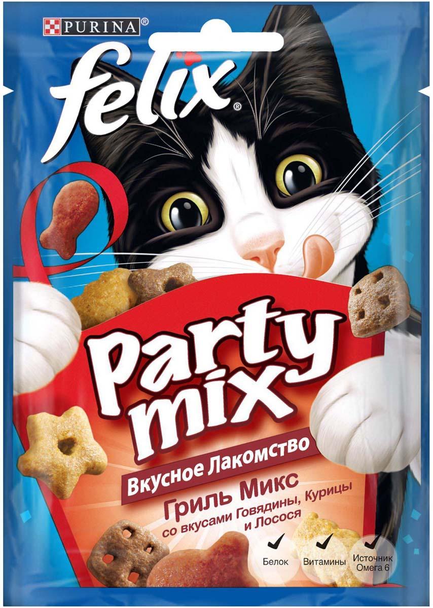 Лакомство для кошек Felix Party Mix. Гриль микс, со вкусами говядины, курицы и лосося, 20 г лакомство для кошек felix party mix гриль микс cо вкусами говядины курицы и лосося 60 г