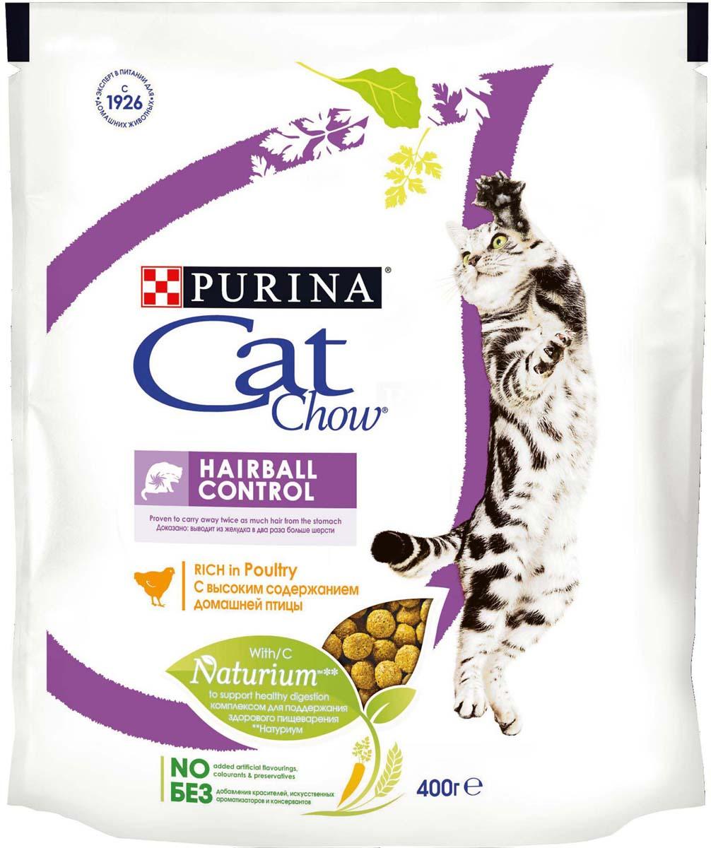 Корм сухой Cat Chow, контроль образования комков шерсти, с домашней птицей, 400 г корм сухой для котят cat chow kitten с домашней птицей 400 г