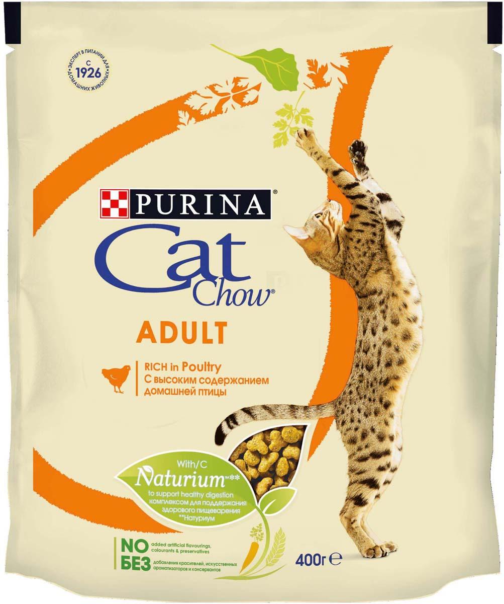 Корм сухой Cat Chow, для взрослых кошек, с домашней птицей, 400 г корм сухой для котят cat chow kitten с домашней птицей 400 г
