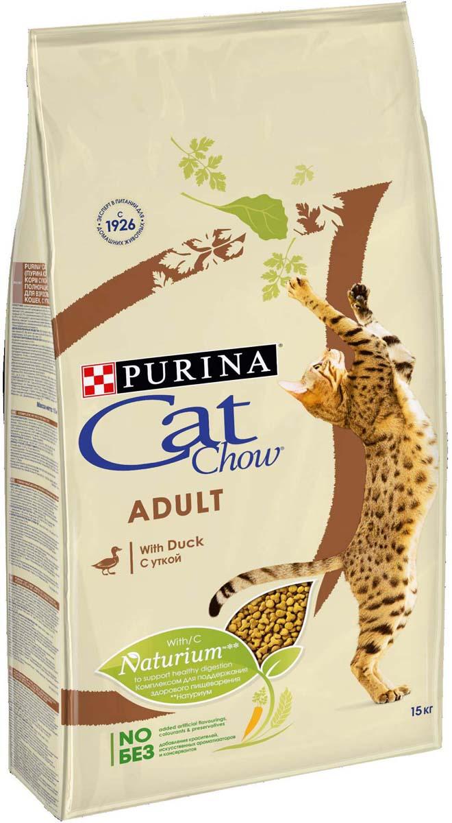 Корм сухой Cat Chow  Adult  для взрослых кошек, с уткой, 15 кг - Корма и лакомства