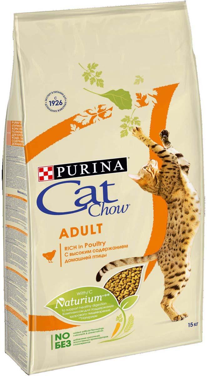 Корм сухой Cat Chow Adult для взрослых кошек, с домашней птицей, 15 кг корм сухой для котят cat chow kitten с домашней птицей 400 г