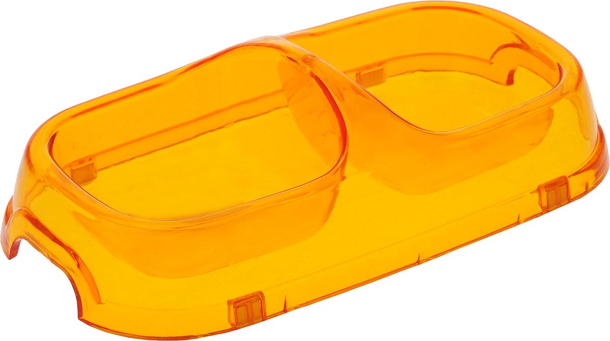 Миска для животных №1, двойная, цвет: оранжевый, 2 х 200 мл миска для животных 1 цвет ярко коралловый 800 мл