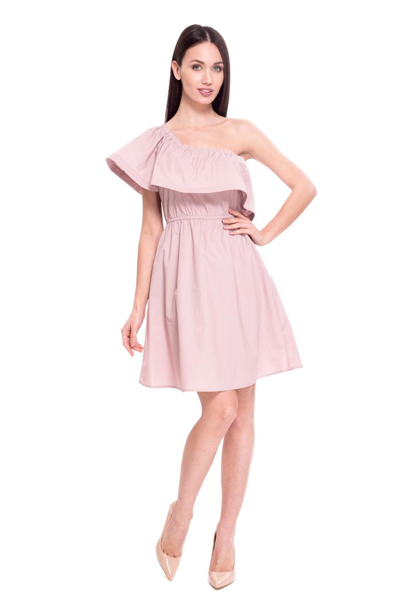 Платье Lusio, цвет: розовый. SS18-020096. Размер XS (40/42)SS18-020096Платье от Lusio выполнено из натурального хлопкового материала. Модель на одно плечо дополнено широким воланом, на талии имеется эластичная резинка.