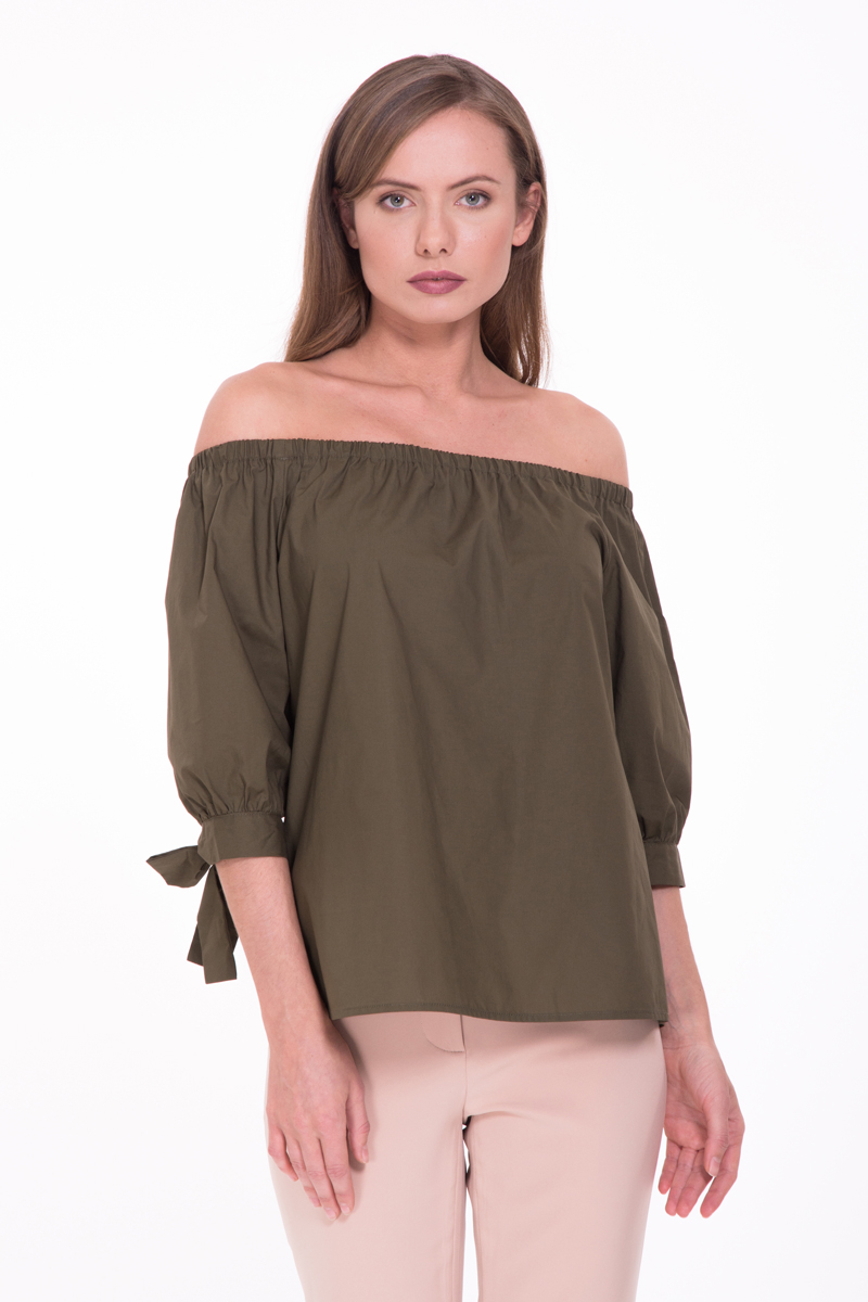 Блузка женская Lusio, цвет: хаки. SS18-370018. Размер XS (40/42)